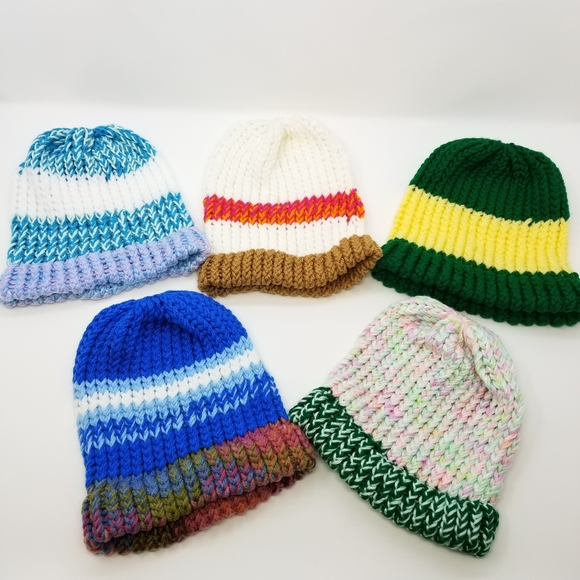 Five Handmade Knit Beanie Set! Family Friends Gift